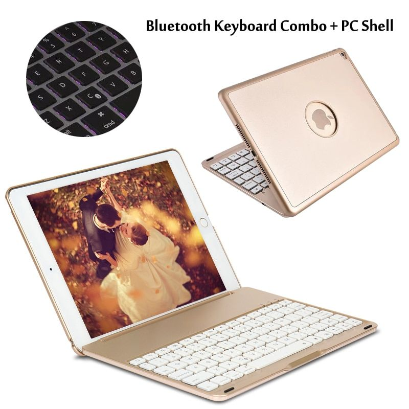 For iPad6 / For iPad 6 / Air2 A1566 A1567 7 Colors Backlit Wireless Bluetooth Keyboard Case Cover + Gift