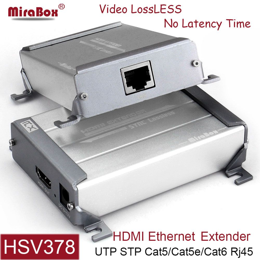 MiraBox HDMI Extender Support 1080p Full HD Lossless No Delay Over Single cable cat5 cat6 rj45 HDMI Transmitter with POE