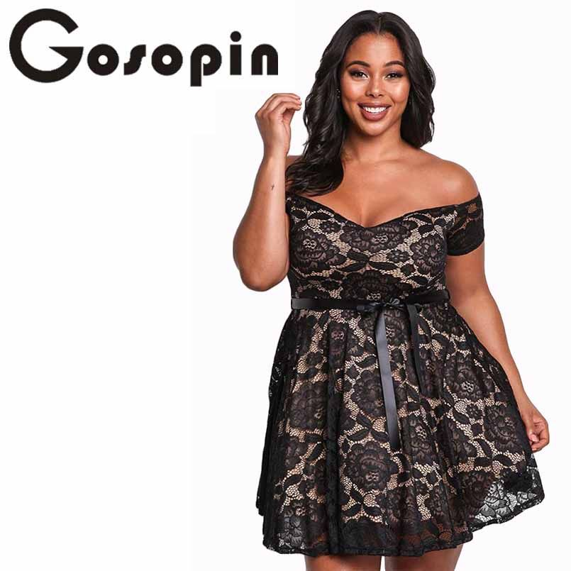 Gosopin Floral Lace Womens Plus Size Dresses Off Shoulder Mini Sexy Summer Dress Black Large Size 2018 Skater Party Dress 220195