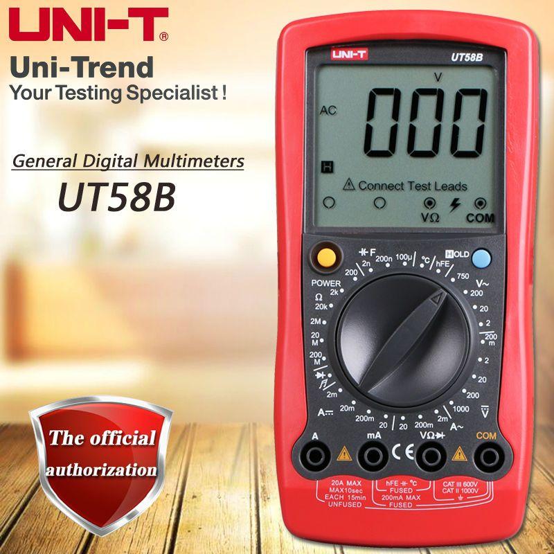 UNI-T UT58B Manual Digital Multimeter Resistor, Capacitance Test Table Diode / Triode Test Low Voltage Display Temperature Test