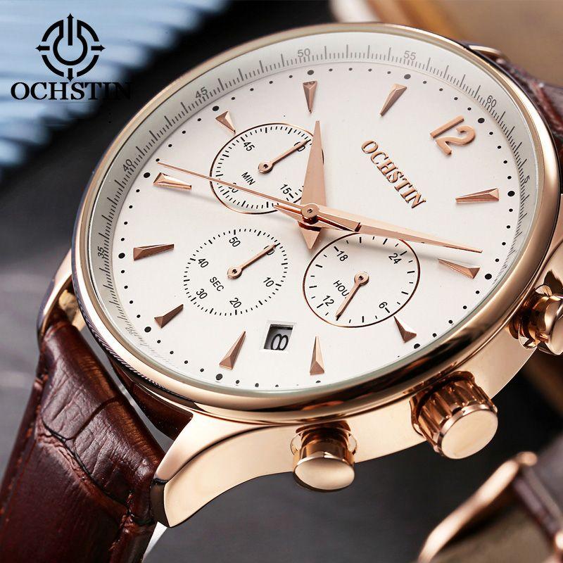 2017 Top luxe marque OCHSTIN hommes sport montres hommes Quartz Date horloge homme cuir militaire montre-bracelet mâle Relogio Masculino