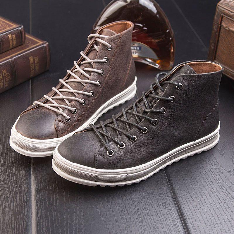 Retro versión Coreana de los nuevos zapatos de invierno de alta zapatos masculinos tendencia de la moda de encaje zapatos de los hombres Británicos casual Martin botas 308-1