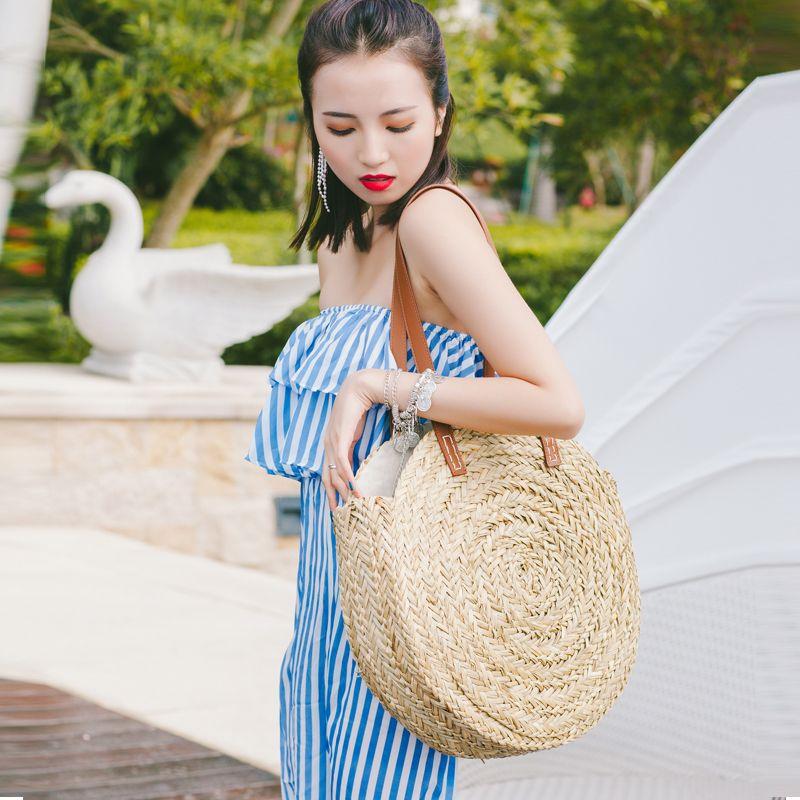 2018 New Natural hand-woven big straw bag round popularity straw Women Shoulder Bag beach holiday bag Ladies Tote large handbag