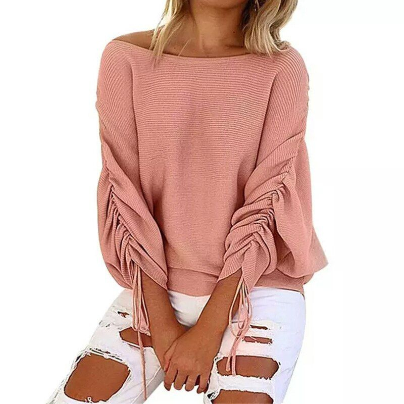 New 2017 Autumn and winter Ruffle Knitted Sweater Women Pullover Female Casual Loose O-Neck Full Shrug Solid sweaters tops