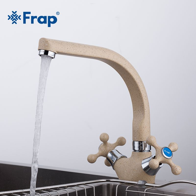 Frap NEW Multicolor Spray painting Kitchen sink Faucet <font><b>Cold</b></font> and Hot Water Mixer Tap Double Handle 360 Rotation F5408-7/8/10/21