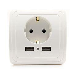 ЕС Стандартный 16a 250 В Dual USB Порты и разъёмы 1500MA/2000mA стены Зарядное устройство адаптер ЕС розетка USB Мощность Outlet панель