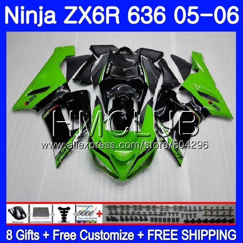 Heißer grün Körper Für KAWASAKI NINJA ZX-636 ZX 6R 600CC 6 R ZX636 05 06 17HM. 7 ZX6R 05 06 ZX600 ZX 636 ZX-6R 2005 2006 Verkleidung