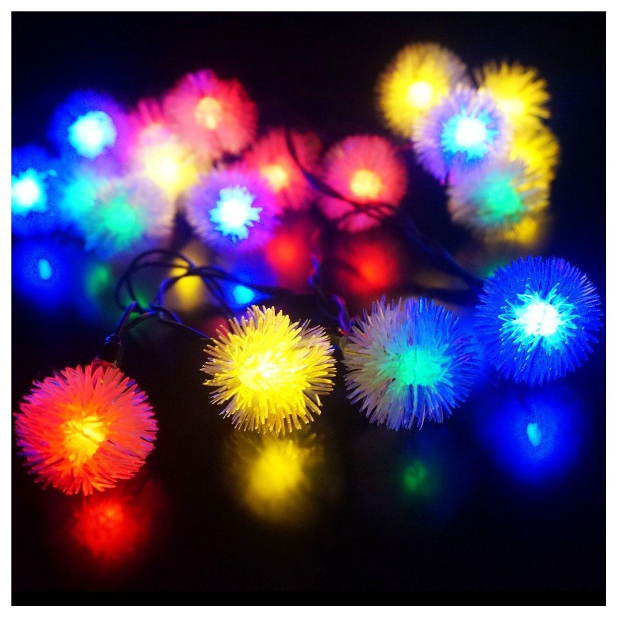LED 4,8 mt 20 LED Solar Außen String Fairy Lichter Schneeball Solar Powered für Außerhalb Garten Terrasse Party Weihnachten Bunte
