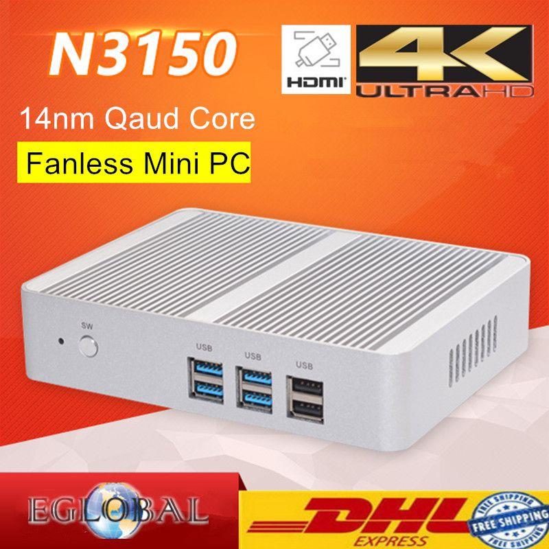 Cheapest Small TV Box Mini PC  Windows 10 Fanless Barebone PC Intel N3150 Quad Core Max 2.08GHz VGA HDMI 4K Kodi HTPC Computer