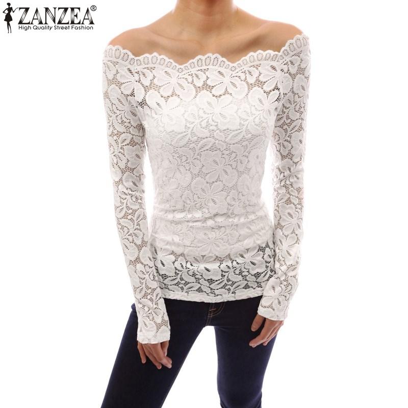 Zanzea mujeres Tops 2018 otoño sexy blusas de hombro Slash Masajeadores de cuello Encaje sólido Camisas manga larga Slim casual Blusas más tamaño