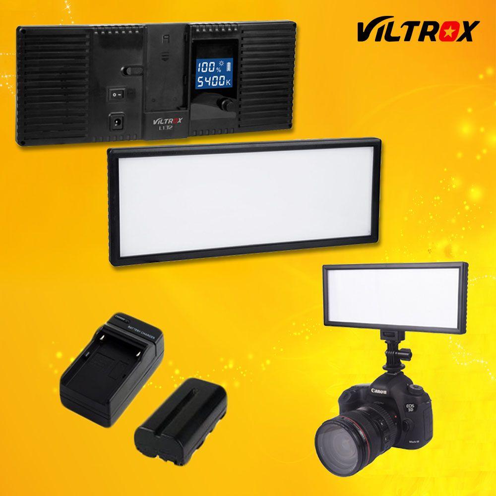 <font><b>Viltrox</b></font> L132T LCD Display Bi-Color & Dimmable Slim DSLR Video LED Light + Battery + Charger for Canon Nikon Camera DV Camcorder