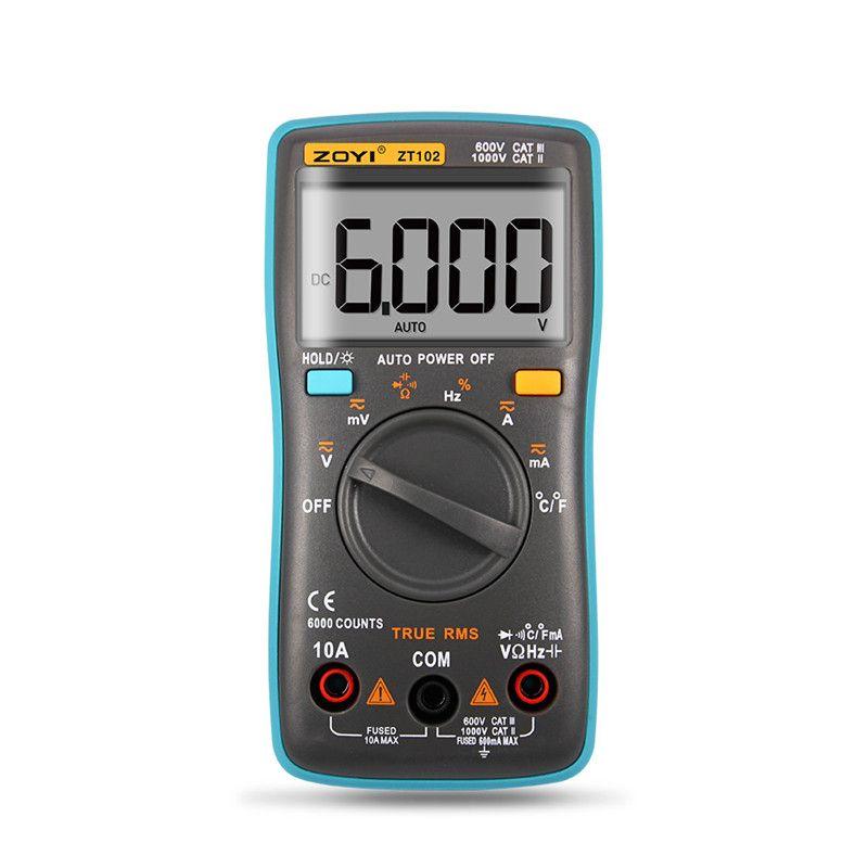 ZOYI ZT101 ZT102 multimètre Portable à portée automatique numérique 6000 compte rétro-éclairage ampèremètre voltmètre Ohm manuel d'utilisation anglais/russe