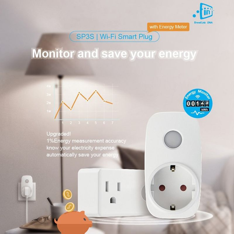 <font><b>Broadlink</b></font> SP3S EU/Contros Smart Wireless WiFi Socket Power Supply Plug 16A 3500w with Energy Meter IOS Android Remote Control