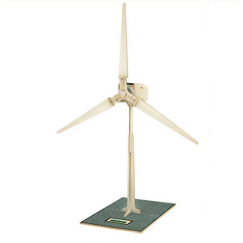 New Arriver Wooden Solar Energy 3D Powered Windmill DIY Puzzle Jigsaw Building Block Educational Toy Gift for Kid Child -45