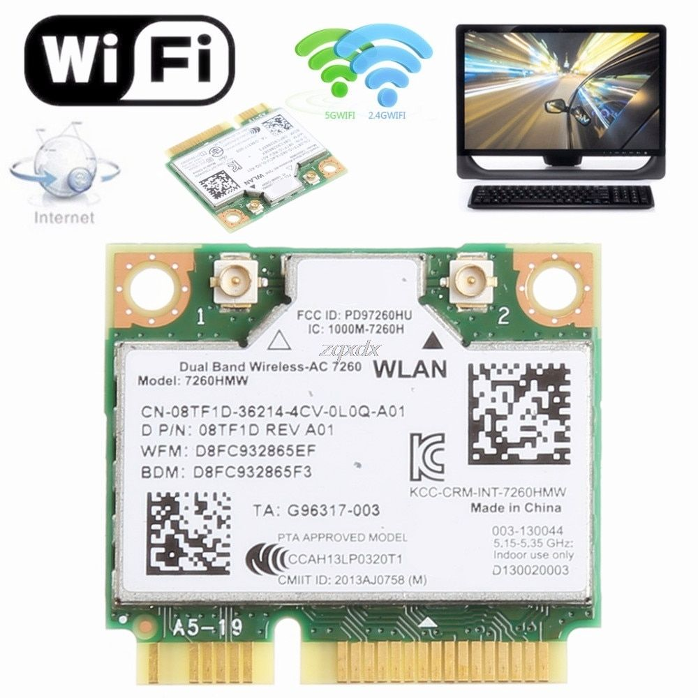 876 m Double Bande 2.4 + 5g Bluetooth V4.0 Wifi Sans Fil Mini PCI-Express Card Pour Intel 7260 AC Pour DELL 7260HMW CN-08TF1D