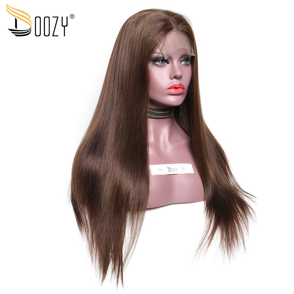 Doozy 250% Density Brazilian Human Hair Wigs Color #4 Medium Brown Remy Straight Human Hair Lace Front Wig