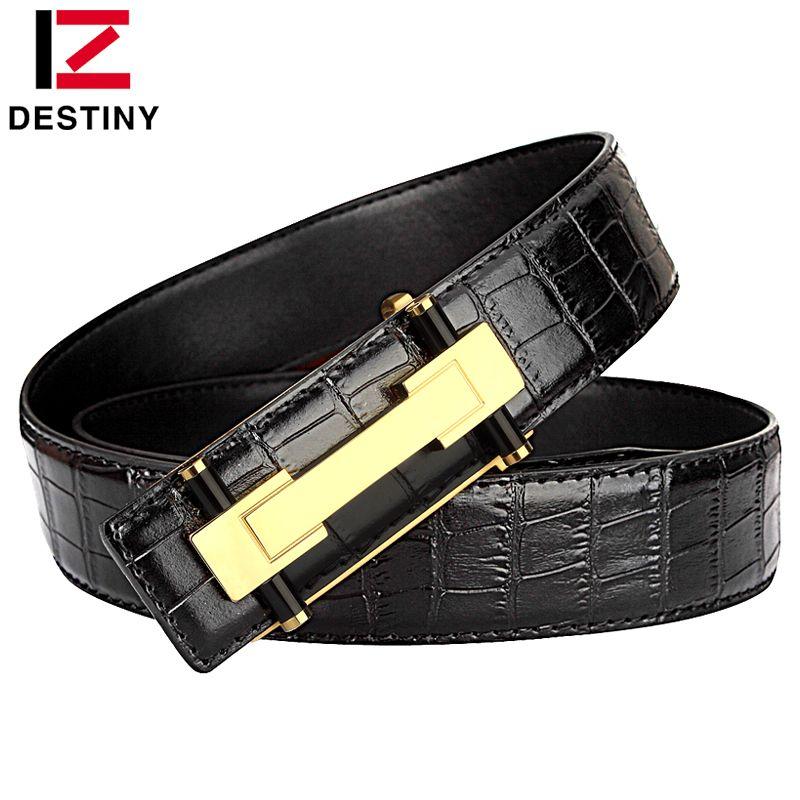 Destin mode hommes ceinture luxe motif Crocodile cuivre lisse boucle haute qualité en cuir véritable ceintures pour homme noir marron
