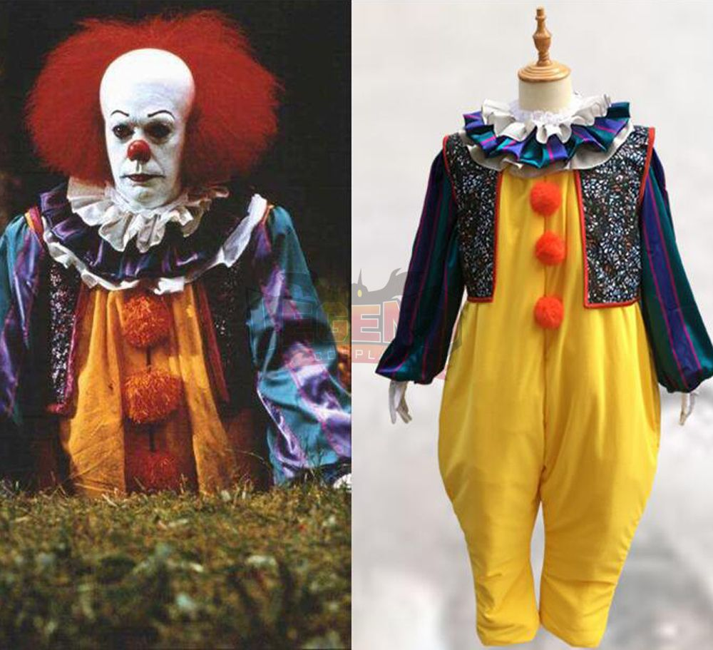 Stephen King's It Pennywise Cosplay Costume Clown Joker Evil Horror Terror Hallowmas Halloween Coat Outwear yellow