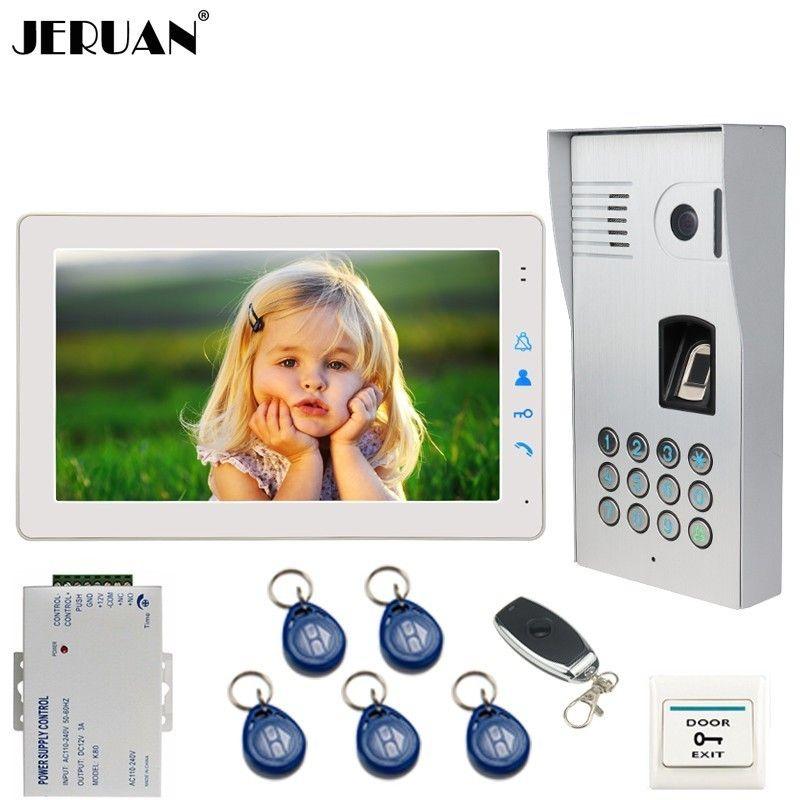 JERUAN Wired 9 Inch Video Doorbell Door Phone Intercom System kit Fingerprint Code Keypad RFID 120 Degree Camera FREE SHIPPING