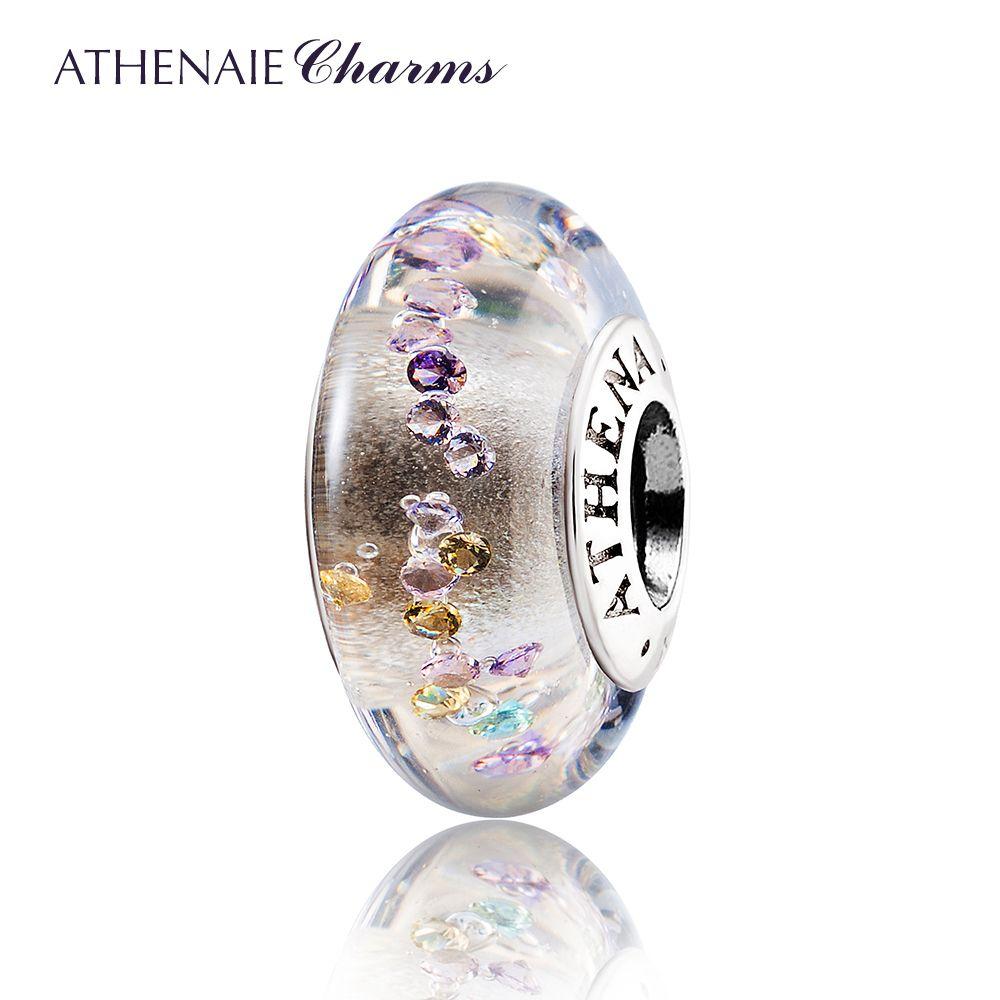 ATHENAIE Genuino Efervescencia de Cristal de Murano Núcleo De Plata 925 de Color Claro CZ Grano Del Encanto Fit Todas Las Pulseras Europeas
