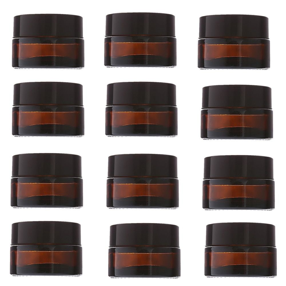 12pcs 20g Amber Glass Cream Jars Cosmetic Packaging with lid black plastic caps & inner liners round empty small glass jar pot