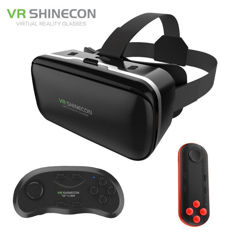 VR Shinecon 6.0 Improved Google Cardboard Virtual Reality 3D Glasses Headset BOX Head Mount for 4.7-6' Phone +Wireless Gamepad
