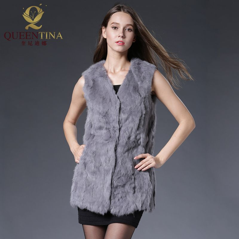 Hiver printemps lapin fourrure Gilet mode vraie fourrure Long Gilet femme naturel fourrure gilets Outwear de haute qualité véritable fourrure Gilet femmes