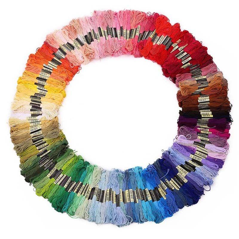 50/100/150/250 couleurs DMC similaire 100% coton broderie fils Kits pour point de croix Mouline 6 brins soie 8 m couture écheveau
