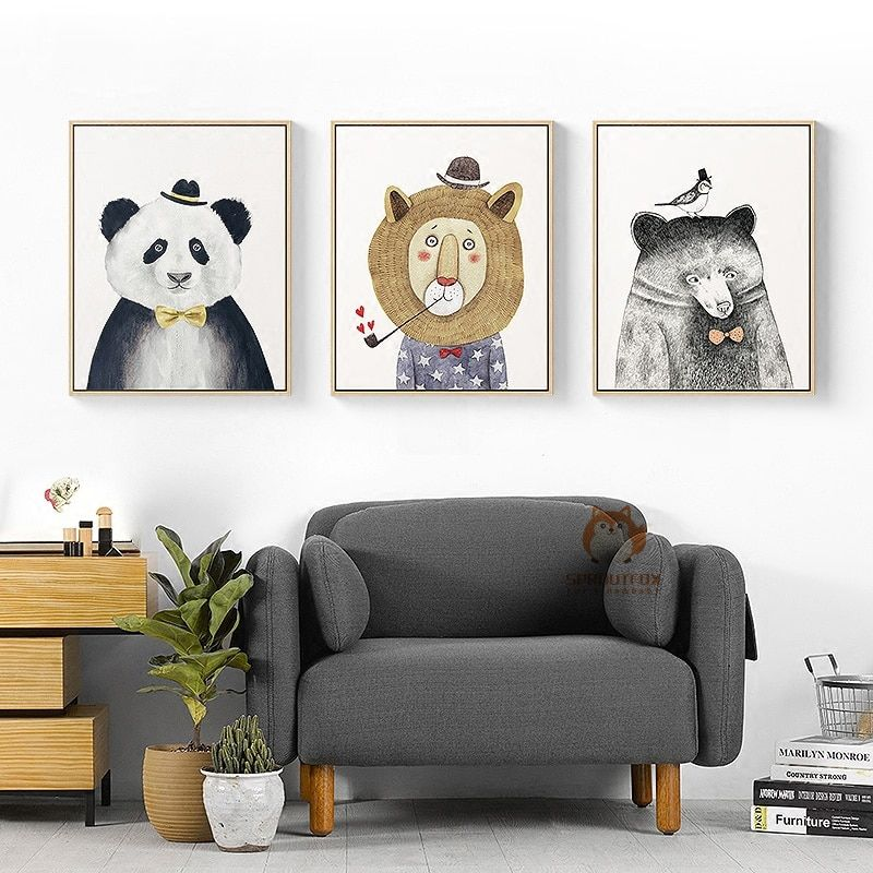Nordique Kawaii de Bande Dessinée Animaux Toile Art Print Affiche de Peinture Image de Mur pour La Décoration Chambre Nursery Enfants Chambre