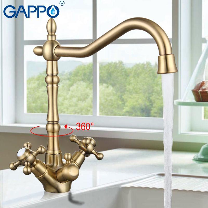 Gappo фильтр для воды краны латунь кухонная раковина смесители цвет Кухня Смесители двухслойные напиток фильтр для воды Смеситель для мойки ...
