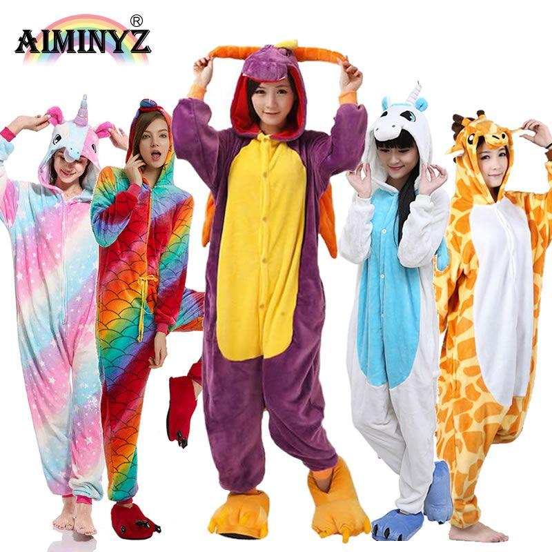 AIMINYZ En Gros Automne Hiver Licorne Pegasus Point Panda Animal Flanelle lot de pyjamas vêtements de nuit de dessin animé Pour Adulte Femmes Hommes