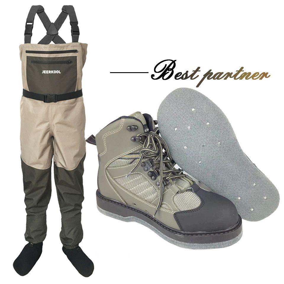 Fliegen Angeln Kleidung und Schuhe Aqua Turnschuhe Waten Kleidung Set Atmungs Rock 12 Nägel Fühlte Sohle Stiefel Wader Hosen FXMD1