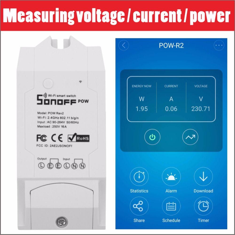 Sonoff Pow R2 16A Wifi Smart Switch Monitor Energy Usage Smart Home Power Measuring Switches APP Control Works With Alexa 3500W