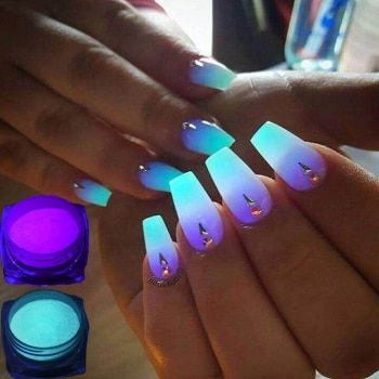 1 Box Neon Phosphor Powder Nail Glitter Powder 10 Colors Dust Luminous Pigment Fluorescent Powder Nail Glitters Glow in the Dark