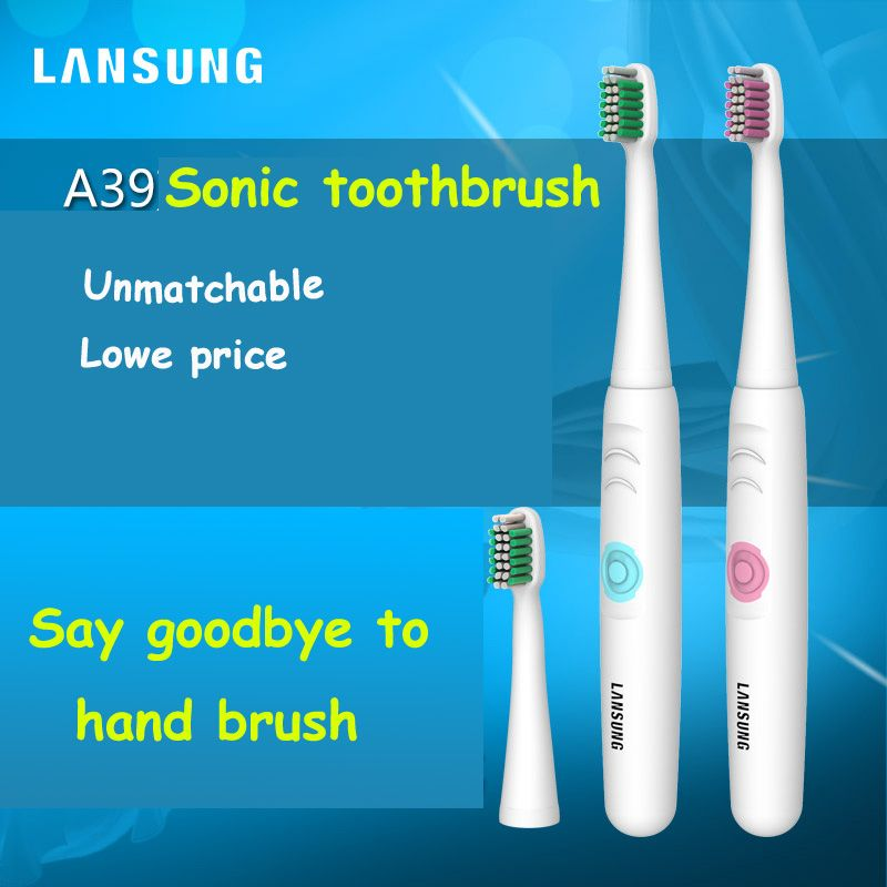 LANSUNG 2018 Battery Operated Electric Toothbrush Oral Hygiene Health Products No Rechargeable Tooth Brush blue or pink color