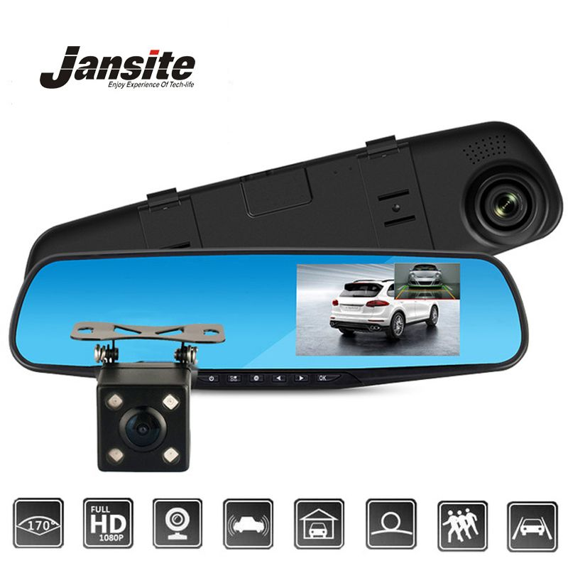 Jansite Car DVR Dual Lens Car Camera Full HD <font><b>1080P</b></font> Video Recorder Rearview Mirror With Rear view DVR Dash cam Auto Registrator