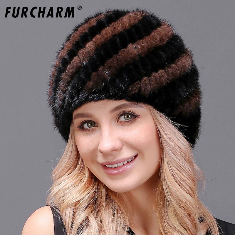 100% Real Mink Fur Hat for Women Warm Real Fur Knitted Pineapple Cap Elegant Real Fur Headwear Mink Hat Female Winter