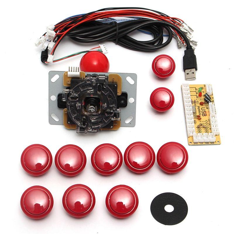 DIY аркадный джойстик Ручка Комплект комплекты 5 pin 24 мм/30 мм кнопки запасные части кабеля USB к ПК джойстик Кнопка кодер плиты и