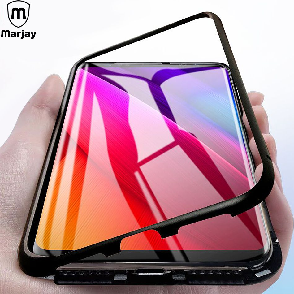 Magnetic Adsorption Metal Case For Samsung Galaxy S8 S9 Plus S7 Edge Note 9 8 Magnet Case Tempered Glass Back Cover Coque Funda