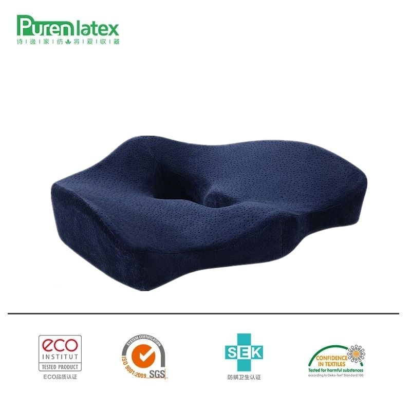PurenLatex Orthopedic Coccyx Memory Foam Chair Pillow Office Seat Pad Car Seat Wheelchair Big Fat Cushion Mats Hemorrhoid Treat