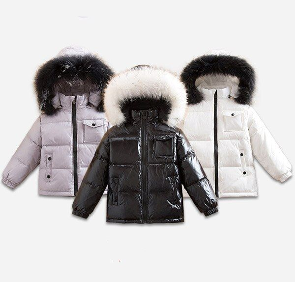 Children's wear down jacket animal hair collar 2-10 years old