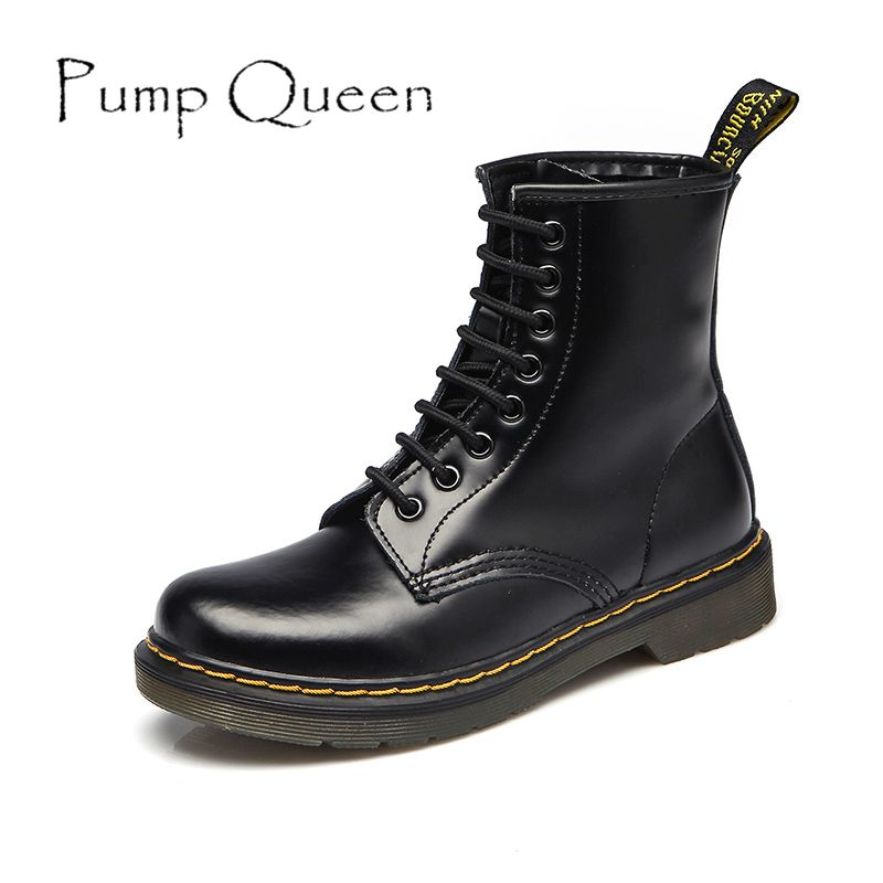 Women Boots Shoes Woman Ankle Boots Punk 2018 Spring Autumn Cow Leather Shoe Lace Up White Black Plus Size 42 44 zapatos <font><b>mujer</b></font>
