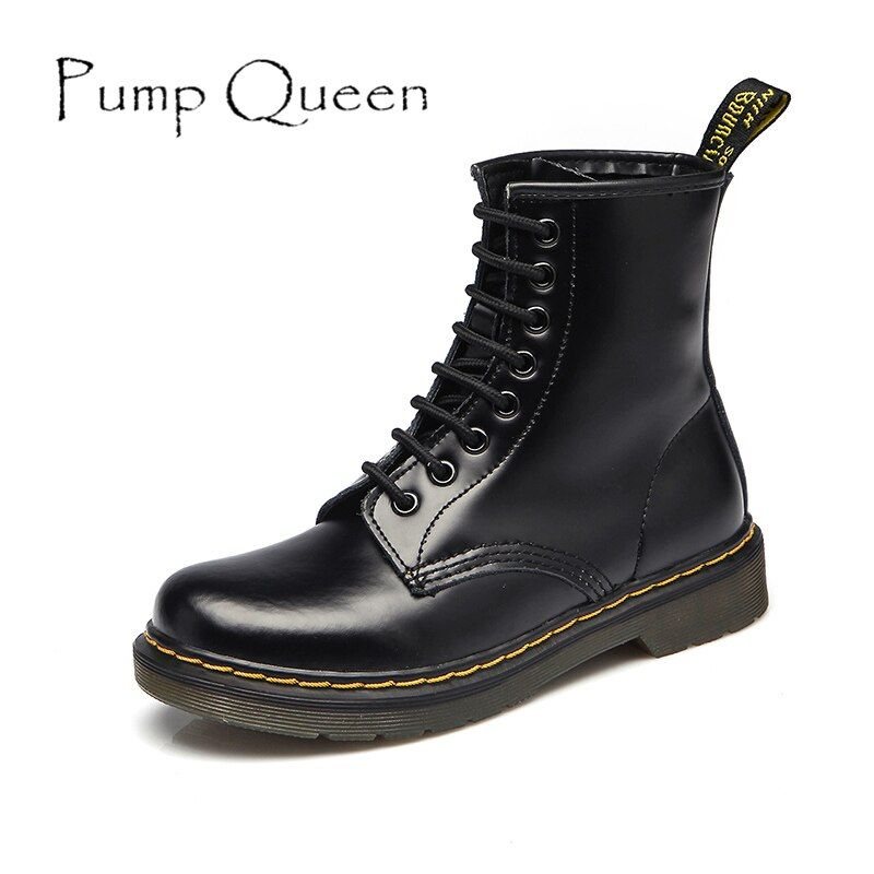 Women Boots Shoes Woman Ankle Boots Punk 2018 Spring Autumn Cow Leather Shoe Lace Up White Black Plus Size 42 44 zapatos mujer