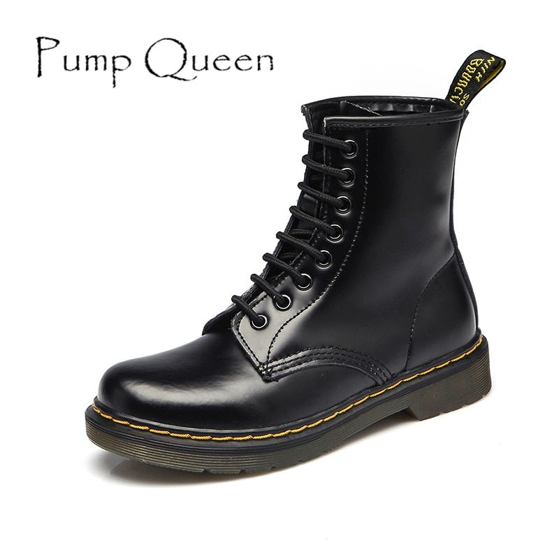 Women Boots Shoes Woman High Ankle Boots Punk 2018 Autumn Winter Cow Leather Shoe Lace Up Black Plus Size 42 44 zapatos mujer