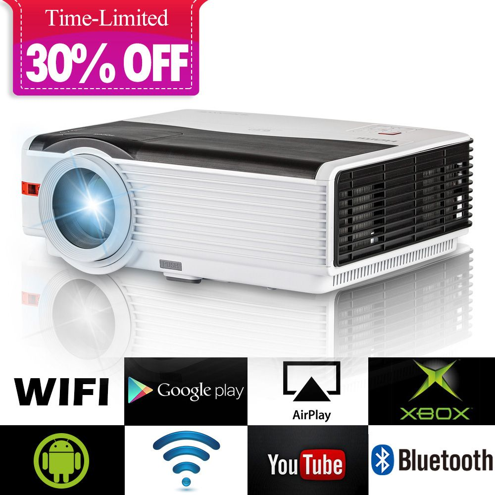 Smart Android WiFi LCD LED Projektor Heimkino Bluetooth 5000 Lumen Full HD Video Mobile Beamer Für Smartphone TV iPhone