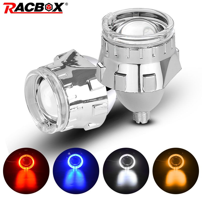 2.5 inch Bi xenon HID Projector Lens with Silver Mask Angel Eyes Led H7 H4 Socket Headlights Use H1 HID Bulb LHD RHD Car Styling
