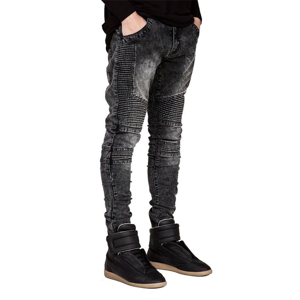 Мужские джинсы взлетно-посадочной полосы Тонкий гонщик байкер джинсы мода хип-хоп узкие джинсы для мужчин H0292