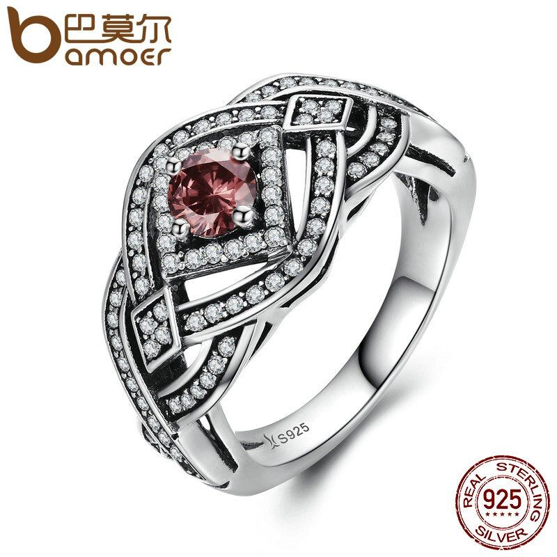 BAMOER Authentic 925 Sterling Silver Punk Weave Finger Ring Geometric Rings For Women Sterling Silver Vintage Jewelry SCR059