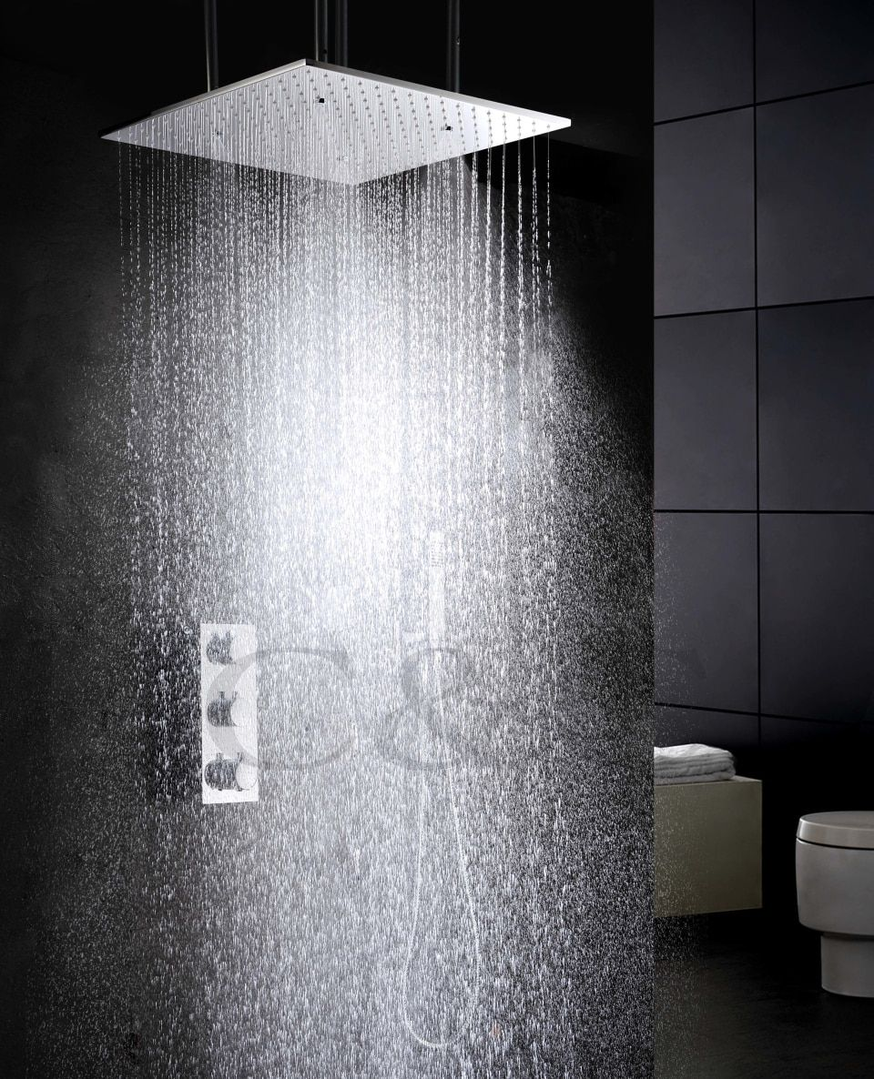 Atomizing And Rainfall Water Function Bathroom Products 20 Inch Bath Shower Head Thermostat Bath Bathroom Shower Faucet Set