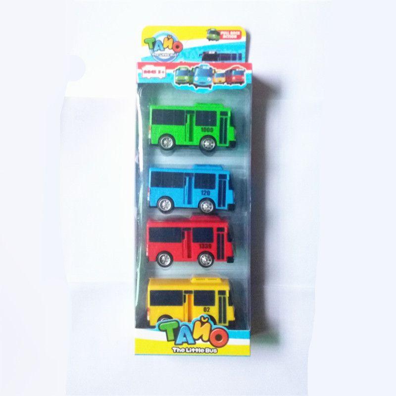 4pcs/set  Tayo the little bus Korean Cartoons oyuncak araba car model mini plastic pull back tayo bus for kids Christmas gift